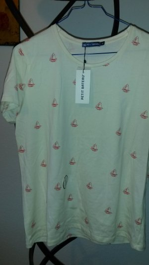 Petit Bateau T-Shirt  Gr.S/M creme rot maritim *neu*