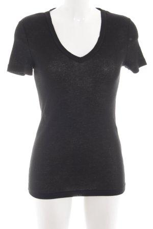 Petit bateau V-Ausschnitt-Shirt schwarz Casual-Look