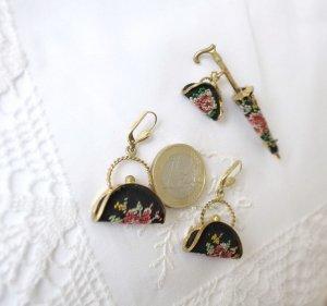 Petit Point Regenschirm Brosche Handtaschen Ohrringe * Vintage Stickerei Schmuck Set *
