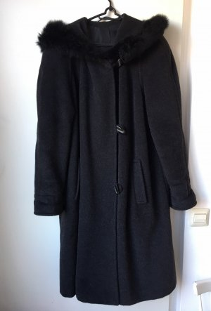 petite mademoiselle Abrigo con capucha negro-gris antracita
