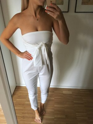 Petite Missguided Weiß Overall Jumpsuit Lang Bandeau Schulterfrei