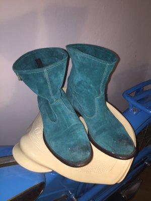Petrol-farbene Wildleder Boots