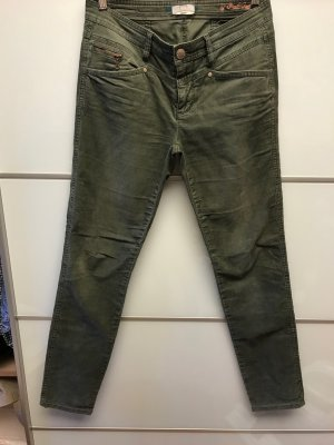 Street One Corduroy Trousers olive green cotton