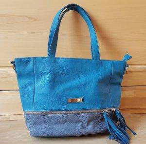 Petrolfarbene Echtlederhandtasche