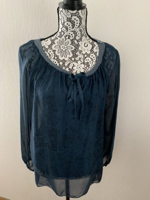 Petrolfarbene (Seiden)Bluse mit Paillettenrand von Alice Rinaldi Gr. M