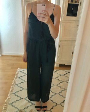 Petrolfarbener Jumpsuit mit Stickerei