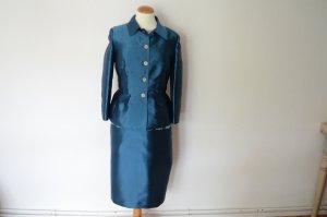 petrolfarbenes Kostüm mit Kleid und Blazer Jacke