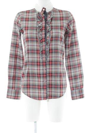 Petruccioli Long Sleeve Shirt red-light grey check pattern vintage look
