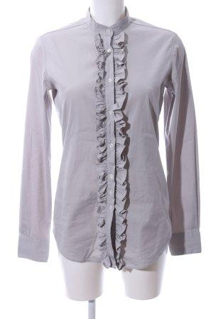 Petruccioli Ruche blouse lichtgrijs casual uitstraling