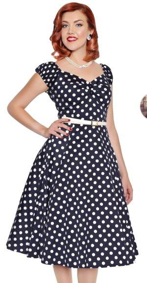 Collectif Petticoat Dress dark blue-white cotton