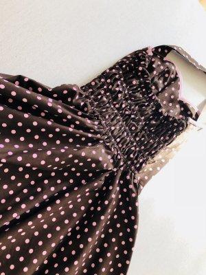 Robe avec jupon brun-rose coton