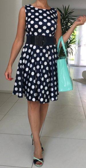 Petticoat Dress dark blue-white polyester