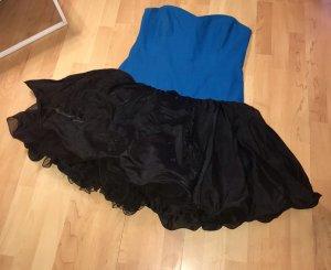Robe avec jupon noir-bleu cadet