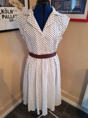 Petticoatkleid 50er Jahre Style in Weiß Braun Gr. 44