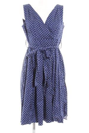 Petticoatkleid weiß-blau Punktemuster 50ies-Stil