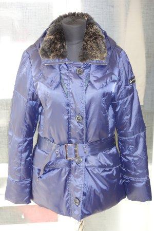 PEUTEREY Element Daunenjacke in blau mit Kanninchenfell und Taillengürtel Gr.38/40