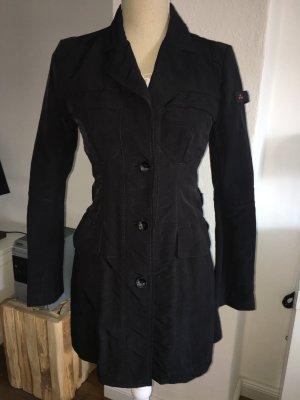 Peuterey Mantel Jacke schwarz dunkelblau Gr. 34 XS S Trenchcoat Übergangsjacke