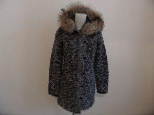 Peuterey Strick mantel mit Kapuze Grau-Schwarz Deu. gr. 40 Luxus Pur!
