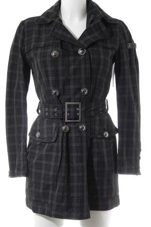 Peuterey Trenchcoat schwarz-dunkelgrau Vichykaromuster Casual-Look