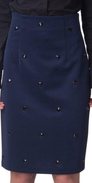 Paola Frani Pencil Skirt dark blue-black polyester