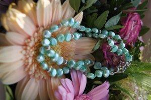 Pfefferminzeis, Perlenarmbanset Mint mit silbernen Kugeln, Armband Perlenarmband