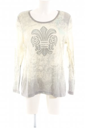 Pfeffinger T-Shirt creme-hellgrau grafisches Muster Casual-Look