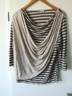 Gestreept shirt bruin-wolwit Viscose