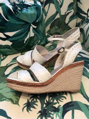 PFINGST-SALE!!! * NUR NOCH DIESE WOCHE!!! * Weiße Leder-Sandale Wedges Keilsandalette mit Schönheitsfehler