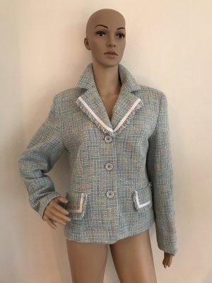 PFINGST-SALE!!! * NUR NOCH DIESE WOCHE!!! * Wunderschöner Tweedblazer Boucle´ hellblau strukturiert weiss abgesetzt 38/40