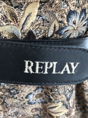 Replay Leather Belt black-silver-colored leather