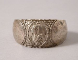 Pharaoh Relief Armreif Ägypten Silber antik vintage Armspange massiv