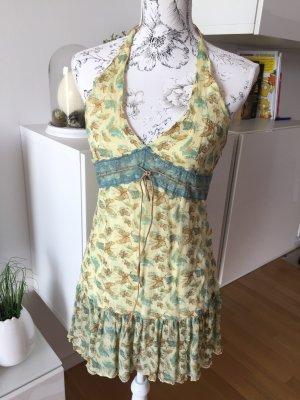 Phard Kleidchen Kleid hellgelb Türkis spitze Wildleder Gr M wie neu
