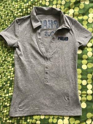 Phard poloshirt t-shirt rückenprint grau oberteil t-shirt größe xs 34