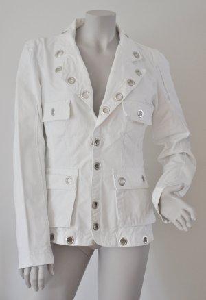 Phard rockige Jeans Jacke Blazer weiß mit silberfarbenen Ösen Gr. L