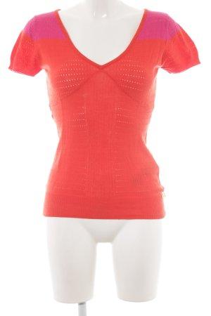 Phard Camisa tejida naranja oscuro-rosa modelo de punto flojo look casual