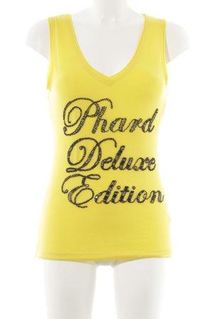 Phard Camiseta sin mangas amarillo oscuro letras bordadas look casual
