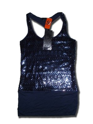 Phard Top blau mit Pailleten
