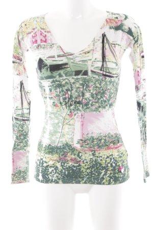 Phard V-Ausschnitt-Pullover abstraktes Muster College-Look
