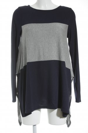 Phase eight Rundhalspullover dunkelblau-grau Streifenmuster sportlicher Stil