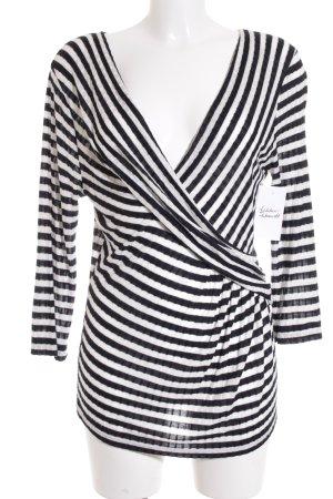 Phase eight V-Ausschnitt-Shirt schwarz-creme Streifenmuster Casual-Look