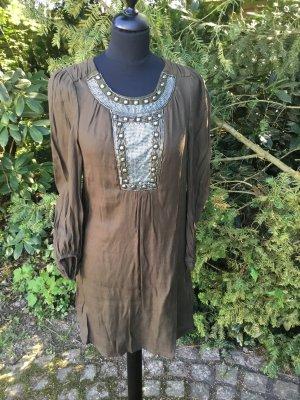 Philosophy Blues Original Vestido tipo túnica gris verdoso-ocre Viscosa