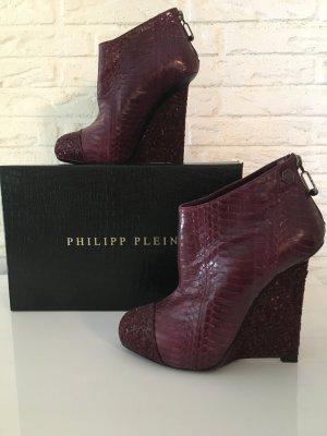 Philipp Plein Bottine à talon compensé bordeau