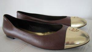 Philipp Plein Ballerinas with Toecap brown-gold-colored leather
