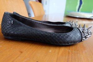 Philipp Plein Ballerinas black-silver-colored leather