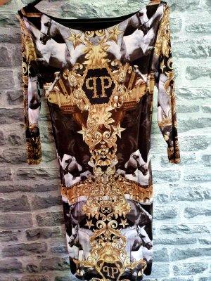 Philipp Plein Vestido elástico negro-color oro