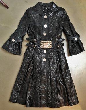 * PHILIPP PLEIN Couture -Limited Edition * ECHT LEDER MANTEL schwarz gesteppt NIETEN Gürtel METALL ilber Gr XS  S 36 34 PARTY *