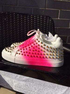 Philipp Plein Skater Shoes white-raspberry-red leather