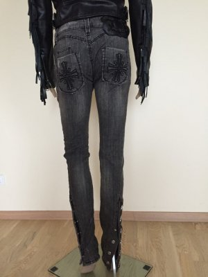 Philipp Plein Biker jeans zwart-donkergrijs