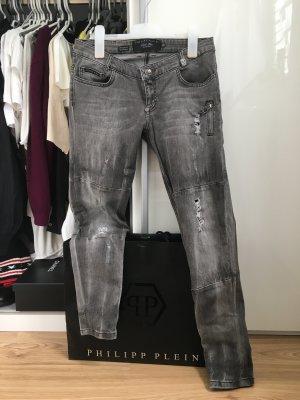 Philipp Plein Jeans taille basse gris