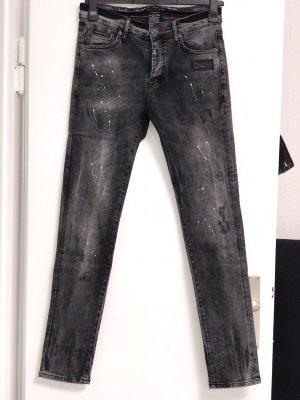 Philipp Plein Jeans in grau mit weiße farbtropfen